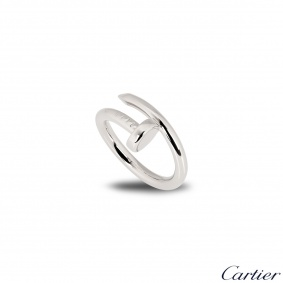 Cartier 18k White Gold Plain Juste Un Clou Ring Size 52 B4099200